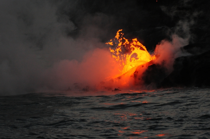 Kilauea volcano lava flowing into the ocean